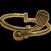 Vintage Mexico Sterling Silver Golf Theme Bangle Bracelet