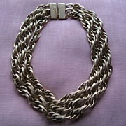 Rare Vintage Donald Stannard 1970's Runway Chunky 3 Strand Necklace
