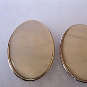 Vintage YSL Yves Saint Laurent Large Oval Faux Pearl Pierced Earrings