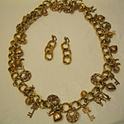 Vintage 1980's Heavy Gold Tone Necklace with Charms & Clip Earrings