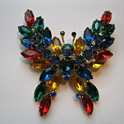 Vintage Multi Colored Open Back Large Butterfly Broach/Pin