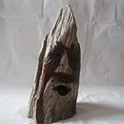 Unique Folk Art Wood Carving Signed MKE