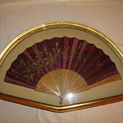 Antique 19th Century Burgundy Silk Framed Fan