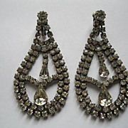 Vintage Long Rhinestone Clip Earrings--Length 2.75 inches