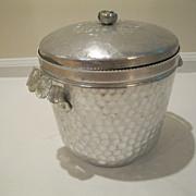 "Vintage Hammered Aluminum Ice Bucket ""Wild Rose"" Brilliantone"
