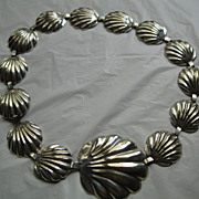 Vintage 1980's Silverplate Shell design Belt Length 32 Inches