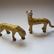 SOLD Vintage 1980's Pair of Cloisonne Leopards