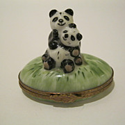 Mother & Baby Panda Limoges Box Signed & Hand Painted