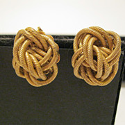 Vintage Signed Miriam Haskell Gold Tone Metal Earrings
