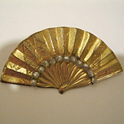 """Vintage Signed Miriam Haskell Fan Pin  2 1/2"""" Wide"""