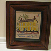 """Antique Framed Embroidery Titled """"The Lincoln Home 1844-1861"""""""