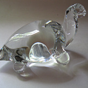 Vintage Crystal Turtle Figurine Paperweight Signed NV