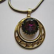 Vintage Signed Schiaparelli Necklace Pendant Watermelon Faceted Glass Stone