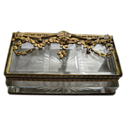 Antique Victorian Cut Glass Stamp Box with Gold Gilt Frame