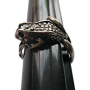 Antique Sterling Silver Frog Ring Size 8.5