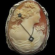 Carved Shell Cameo en Habille Pin Pendant 14K White Gold & Diamonds