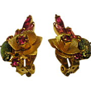 Vintage Pink Dragons Breath & Rhinestone Flower Clip Earrings