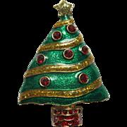 Vintage Signed Roman Enamel & Rhinestone Christmas Tree Pin Broach