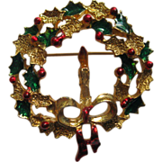 Vintage Signed Gerrys Christmas Wreath with Candle Pin Broach