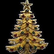 Vintage Signed MYLU Christmas Tree Pin Broach Book Piece