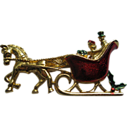 Vintage Signed Gerrys Christmas Sleigh Pin Broach