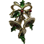 Vintage Signed Gerry's Christmas Bells Pin Broach