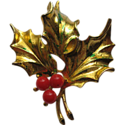 Vintage Signed MYLU Christmas Holly Pin Broach