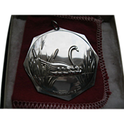 1977 Towle Sterling Silver Christmas Medallion Seven Swans a Swimming