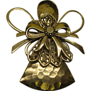 Signed Treska Christmas Angel Pin Broach