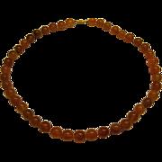 """Vintage Estate Carnelian Bead Necklace Length 21"""""""