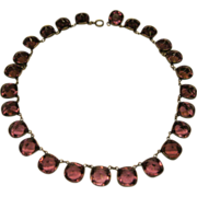 Antique Early 1900's French Paste Purple Amethyst Sterling Silver Necklace