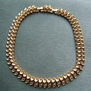 Vintage Brushed Gold Metal and Rhinestone Necklace