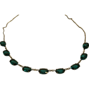 Antique Sterling Silver & Emerald Paste Riviere Necklace