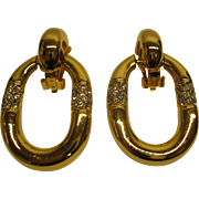 Large Vintage Door Knocker Clip Earrings Gold Tone Metal Rhinestones