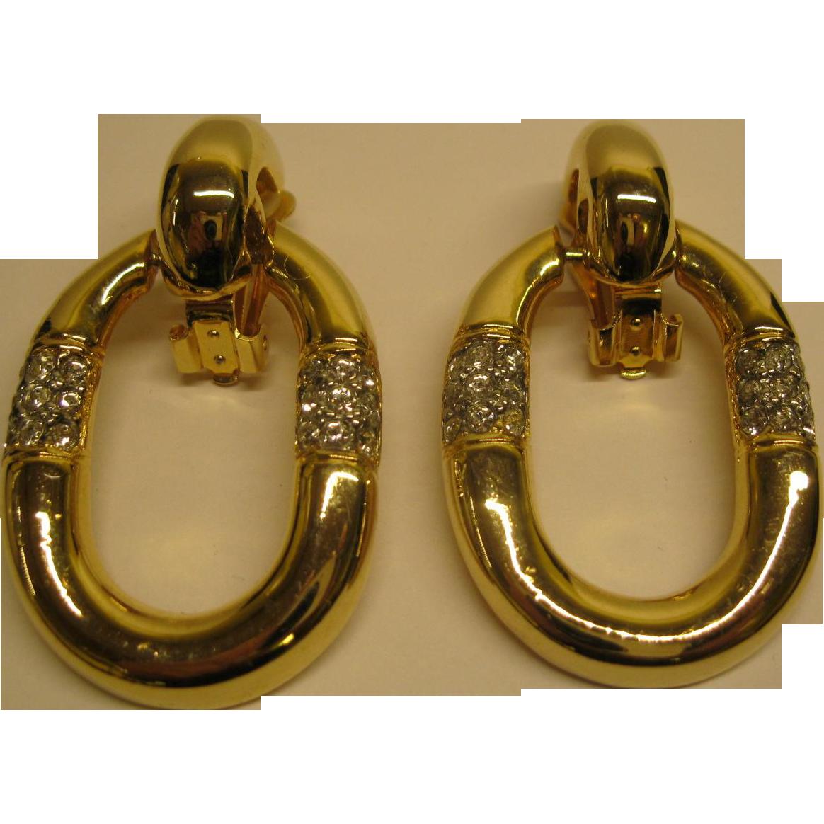 Large Vintage Door Knocker Clip Earrings Gold Tone Metal