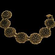 Signed Victorian Sterling Silver Onyx Filigree Bracelet