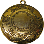 Antique Signed Bliss Brothers Etched Round Locket