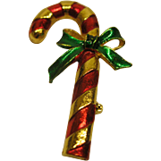 Vintage Signed Gerry's Candy Cane Pin Broach