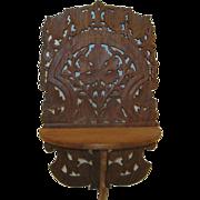Antique Ornate Hand Carved Wood Hinged Shelf Wall Bracket