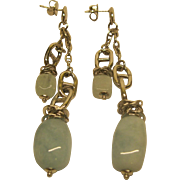 Signed Makuti Sterling Silver & Aqua Quartz Double Drop Dangle Pierced Earrings
