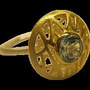 Signed Bastian Inverun Modernist Sterling Silver 14K Gold Blue Topaz Ring Sz 7.5