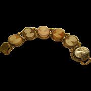 Vintage Signed A&Z Gold Filled Cameo Bracelet