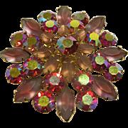 Vintage Signed Coro Pink Aurora Borealis Pin Broach