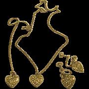Signed Weiss Heart Necklace Bracelet Screw Back Earrings Set