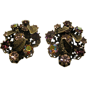 Vintage 1950's Signed Austria Jeweled Clip Earrings