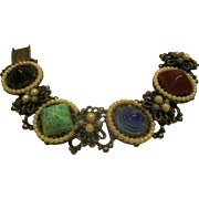 Signed RS Etruscan Revival Chunky Ornate Bracelet