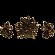 Vintage Purple Rhinestone Pin Broach & Clip Earrings Set