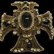 Vintage Jeweled Maltese Cross Pendant Pin Broach