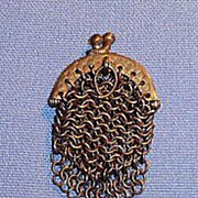 1860 Tiny Antique gold color Doll Mesh Purse