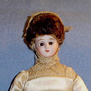 7 inch Antique Simon Halbig Bisque Head Little Women Doll Dressed as Bride